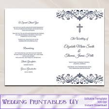 catholic wedding program templates catholic wedding program template diy navy blue cross ceremony