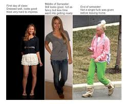 First Day Of College Meme - how women dress throughout their semester of college imgur