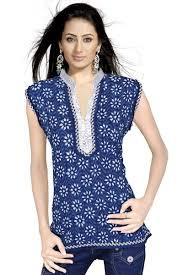 top design buy floral design block blue cotton top 109