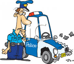 animated wrecked car cartoon of a policeman looking at his wrecked police car royalty