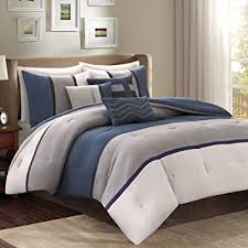 Navy Blue And Gray Bedding Amazon Com 7 Piece Navy Blue Grey Striped Comforter Queen Set