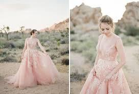 a dreamy pink wedding dress captured in joshua tree green