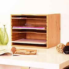 Kleine Schreibtische Aus Holz Relaxdays Briefablage Aus Bambus Hbt Ca 26 5 X 33 5 X 24 5 Cm