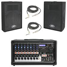 peavey pvi 10 10 pa speaker cabinet pair peavey pvi 8500 pro 8ch powered 400w mixer 2 1 4 cables pvi 10