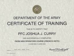 Certificate Of Interior Design army certificate of training