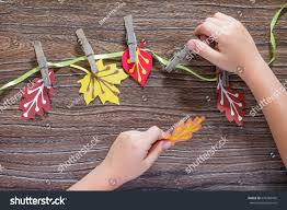 autumn background colorful different leaves paper stock photo