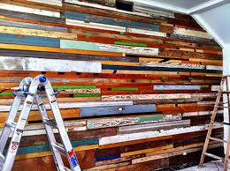 repurposed wood wall before after salvaged wood wall design sponge