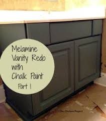 can you use chalk paint on melamine kitchen cabinets melamine bath vanity refinished without stripping sanding