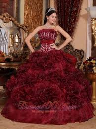 burgundy quinceanera dress strapless ball gown new style