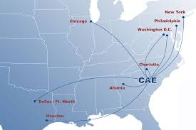 Map Of Florida Airports Non Stop Destinations Columbia Metropolitan Airport Cae