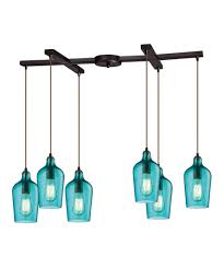 Aqua Pendant Light Elk Lighting 10331 6 Hammered Glass 15 Inch Wide 6 Light Multi