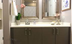 Painting Bathroom Cabinets Ideas by Diy Custom Gray Painted Bathroom Vanity From A Builder Grade