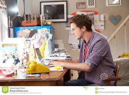 Design Business From Home Man On Laptop Running Business From Home Office Stock Photo
