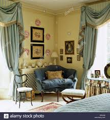 Living Room Curtains Silk Small Blue Sofa In Corner Of Country Bedroom With Pale Blue Silk