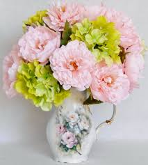 Artificial Flowers For Home Decoration Artificial Flower Arrangement Pink Peonies Lime Green