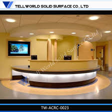 Rounded Reception Desk by Tw Simple Design Custom Made Acrylic Solid Surface White Round