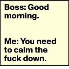 Calm The Fuck Down Meme - boss good morning me you need to calm the fuck down meme on me me