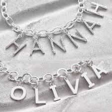 name charm necklace personalised sterling silver name charm necklace hurleyburley