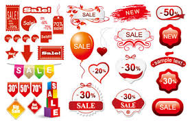 3 sets of discount sales decoration vector material icon