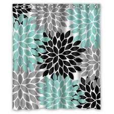 Grey Green Shower Curtain Black Grey Green Dahlia Floral Pattern Waterproof Shower Curtain