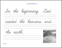 genesis copywork cursive homeschool and handwriting