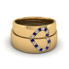 his and wedding bands blue sapphire wedding band with white diamond in 14k yellow