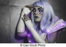 stock photos of sci fi woman robot with led light dress white and