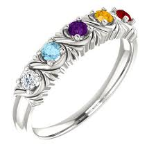 mothers ring 6 stones mothers ring family ring grandmothers ring 6 stones 5