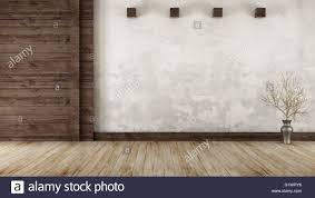 empty room in rustic style with old wooden paneling 3d rendering