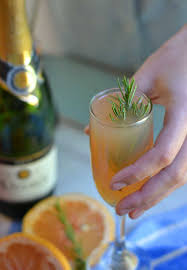 rosemary grapefruit mimosa cocktail