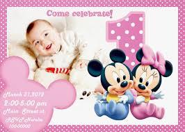 Minnie Mouse Invitation Card 1st Year Birthday Invitation Cards Free Invitation Ideas