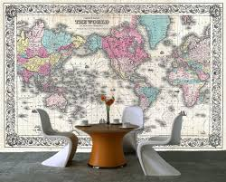 Peel and stick photo wall mural decor wallpapers old world map Art
