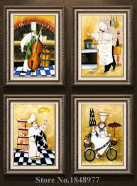4 Panels Modern Wall Art Cartoon Happy Chef Oil Painting Canvas