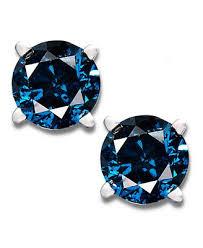 blue diamond stud earrings 14k white gold earrings treated blue diamond stud earrings 1 2