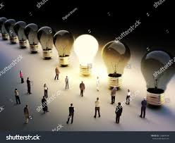Light Being Light Bulbs Row One Being On Stock Illustration 126804434