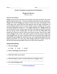 reading comprehension grade reading worksheets third grade reading worksheets