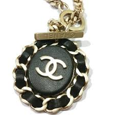 chain leather necklace images Authentic brand new 16 chanel gold chain leather cc pendant jpg