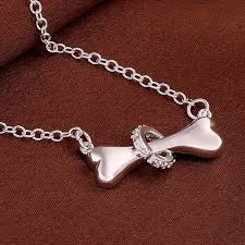 diamond ring necklace images Necklace 39 i love my dog 39 silver bone with 39 diamond 39 ring magic jpg