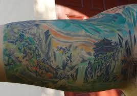 chinese temple landscape tattoo tat it up pinterest