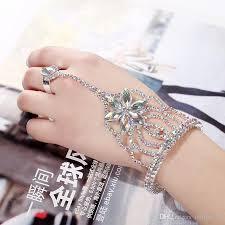 crystal rhinestone cuff bracelet images 2018 luxury bridal bracelet ring set flower crystal rhinestone jpg