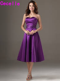 plus size purple bridesmaid dresses 2017 winter knee length satin beaded purple bridesmaid dresses