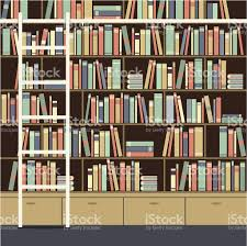 Library Bookcases With Ladder Bookcase With Ladder Vector Illustration Stock Vector Art
