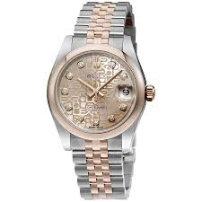 golden jubilee diamond size comparison rolex datejust 31 pink jubilee diamond dial steel and 18k everose
