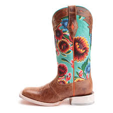 ariats womens boots nz ariat womens circuit chion floral square toe cowboy boots brown