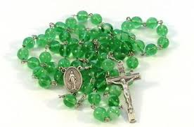 glow in the rosary handmade catholic green glow in the glass bead rosary with