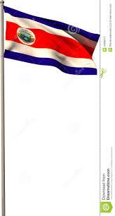 Costarican Flag Costa Rica National Flag On Flagpole Stock Illustration Image