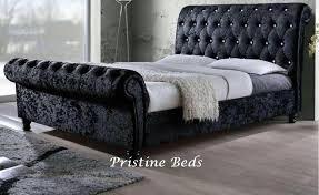Velvet Sleigh Bed Crushed Velvet Fabric Upholstered Chesterfield Sleigh Bed Frame
