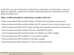 top 10 admissions recruiter interview questions and answers