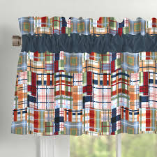 patchwork plaid window valance rod pocket carousel designs