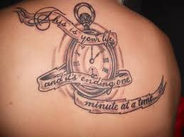 upper back cover up with outstanding clock tattoo for pretty women